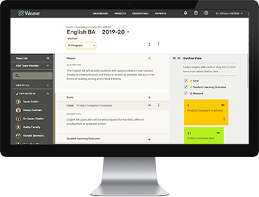 Assessment Accreditation Management Software Screen English-BA