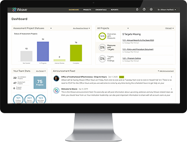 Institutional Effectiveness-Management Software Dashboard